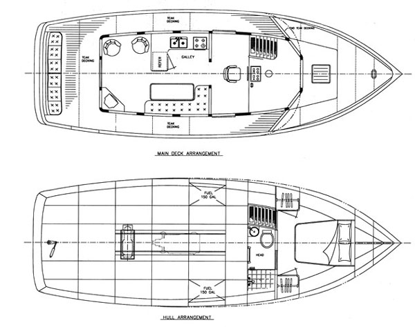 Aurora 40 power yacht boat plans boat designs Blueprints for sale